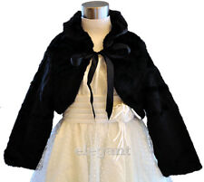 Black Girls Faux Fur Wedding Long Jacket Coat Age 1-9
