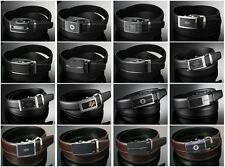 Men's Black Leather Dress Belt with Auto Lock Sliding Buckle Up to Waist 41 inch