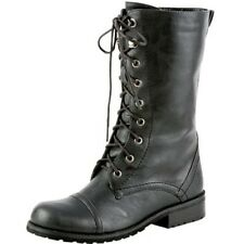 Military Leather Lace Up Riding Motorcycle Boots Zipper