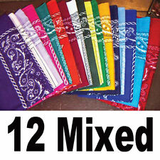 COTTON Lot wholesale dozen Bandanas 12 PCS MIXED colors