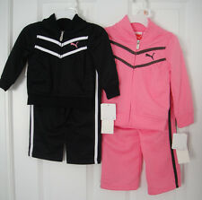PUMA NWT Infant Girls 2PC Track Suit Jacket Pant Top Warm Up Pink Black 12 18 24