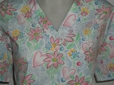 XS S M L XL  WHITE PINK RED BLUE GREEN HEARTS & FLOWERS  V NECK SCRUB TOP