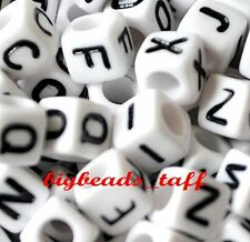 50pcs 7mm white cube alphabet single letter beads A - Z