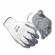 12  PAIRS OF NEW NITRILE COATED WORK GLOVES WHITE GRAY BUILDERS GARDENING