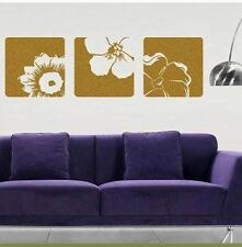 Set of 3 Canvas Effect Removable Flower Vinyl Wall Art Sticker Decals Decoration