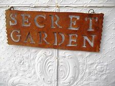 Tin Secret  Garden Sign Stake Home Decor Metal Yard Ornament Rustic Art