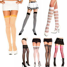 Horizontal Vertical Colored Two Tone Striped Checker Thigh Hi Stockings Leggings