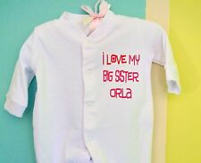 PERSONALISED baby boys & girls I LOVE MY BIG BROTHER/SISTER babygrow/sleepsuit