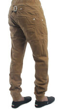 NEW MENS ENZO EZ74 DESIGNER TAN COLOURED CUFFED CHINOS. BNWT *REDUCED PRICE*