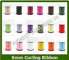 1 x 5mm CURLING BALLOON FLORIST CRAFT RIBBON ROLL x 500m -  22 COLOURS AVAILABLE