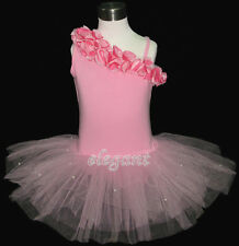 Pink Flower Girls Fairy Costume Dress Ballet Leotard Tutu Party Skirt Age 1-9Y