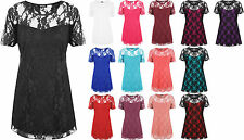 New Ladies Lace Floral Lined Top Womens Plus Size Stretch Short Sleeve Top 14-28