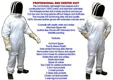 BEE KEEPING keeper SUIT-LARGE/XL 100% COTTON + FREE LEATHER GLOVES FENCING VEIL