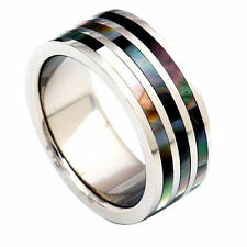 9mm Trio Abalone Shell Stripes Inlay Pip Cut Titanium Band Men's Wedding Ring