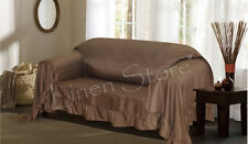 BROWN VENICE FURNITURE THROW COVER, FANCY RUFFLE BORDER, SLIPCOVER LOVESEAT SOFA