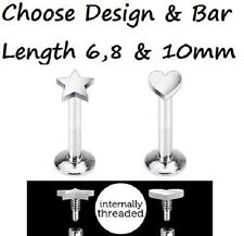 New Internally Threaded Steel Heart or Star Tragus Labret Monroe 1.2mm 16g (K2)