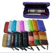 Genuine Eel skin Leather Credit Zippered Wallet with coin Purse 18 Colors