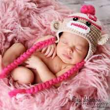 Melondipity Girl Sock Monkey Crochet Baby Hat Brown Pink Beanie Ears Braids Knit