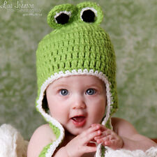 Melondipity Green Crochet Frog Animal Beanie Baby Hat, Black Eyes Curly Braids