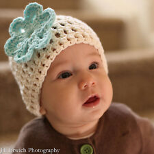 Vanilla Mint Crochet Beanie with Flower Baby Hat