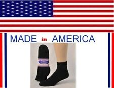 Men women Solid BLACK cotton diabetic ANKLE socks gift him her shoe size 7-12