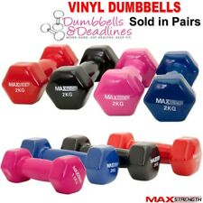 rubber dumbells sets 1kg 2kg 5kg hand weights vinyl fitness ladies pair