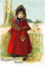 Thread Card Willimatic Girl Red Coat Multi Szs Applique FrEE ShiPPinG WoRld WiDE