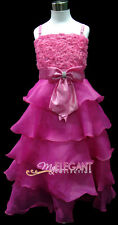 Hot Pink Rosette Pageant Wedding Flower Girls Dress Long Gown Sz 3-12 Age 2-13 T