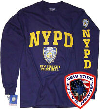 NYPD T-SHIRT NAVY BLUE LONG SLEEVE OFFICIALLY LICENSED BY NEW YORK CITY