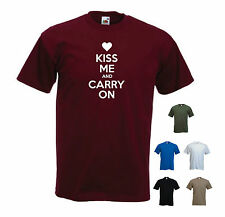 'Kiss me and carry on' - Funny mens Valentines Day T-shirt. S-XXL