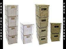 2 OR 4 Drawer Seagrass or White Resin Tower Storage Unit - Home Storage Free P&P