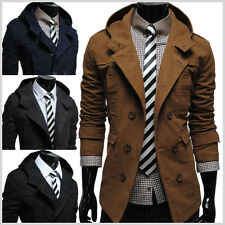(ALM) THELEES Mens casual double slim cotton hood trench coat Jacket