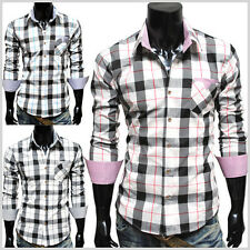 (CHS5) THELEES Mens Casual Long Sleeve Stripe Patch Stylish BIG Checker Shirts