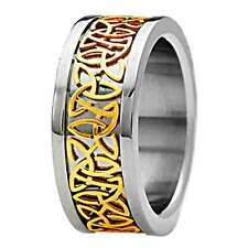 New 9mm 14K Gold EP Celtic Scroll Inlay Pip Cut Titanium Band Men's Wedding Ring