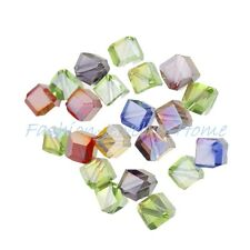 wholesale 20pcs glass crystal cube spacer beads 6mm clear red blue pink AB