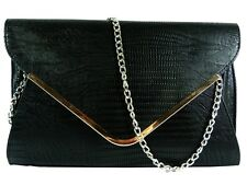 Large Black Leather Style Snakeskin Clutch Bag Evening Bag Snake Skin Handbag