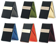 Mens Faux Leather Silver Money Clip Slim Wallets Black ID Credit Card Holder NEW