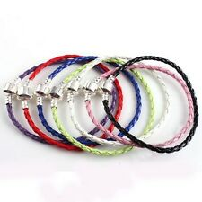 FREE SHIP 1pcs Leather Bracelet Fit European Charm Beads Pick Your Color&Size