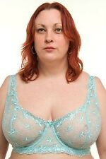 Auqa Ladies Underwired Plus Sizes Embroidered Lace Bra 34E to 46J