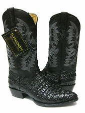 MEN'S BLACK LEATHER SMALL BELLY CROCODILE ALLIGATOR COWBOY BOOTS WESTERN RODEO