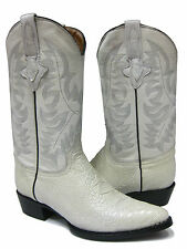 MEN'S WHITE LEATHER BELLY CROCODILE ALLIGATOR COWBOY BOOTS FOR WESTERN RODEO