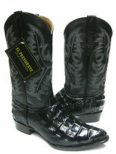 MEN'S BLACK ALLIGATOR CROCODILE BACK CUT COWBOY BOOTS WESTERN EXOTIC
