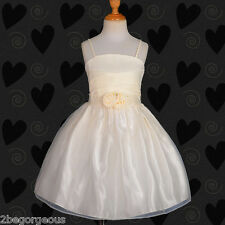 PROMOTION Beaded Satin Wedding Flower Girl Bridesmaid Dress Party 4y-7y FG192