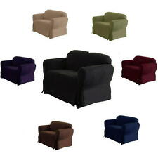 1 Piece Luxury Micro Suede Sofa Loveseat Arm Chair Slip Cover Couch New Black