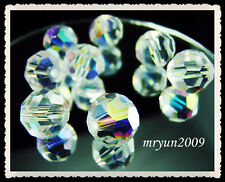 NWT Lot 50~200PCS #5000 Clear AB crystal Round Charms Spacer Beads 4,6,8mm