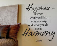 Wall Decal Sticker Quote Vinyl Art Align What You Think Say and Do Gandhi IN79