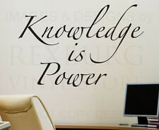 Wall Decal Quote Sticker Vinyl Art Lettering Decorative Knowledge is Power I06