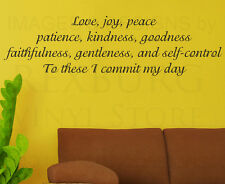Wall Decal Quote Sticker Vinyl Large Love Joy Peace Patience God Religious R39