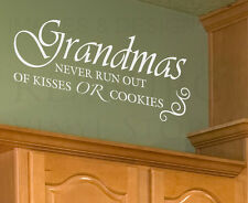 Wall Decal Quote Sticker Vinyl Lettering Graphic Grandma Kisses or Cookies F31