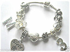 "CHILDRENS GIRLS 6.5"" NIECE INITIAL AGE SILVER CHARM BRACELET 10 CHARMS"